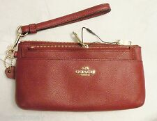NWT Coach 52334 Zippy Wallet With Pop-Up Pouch In Embossed Textured Leather Red