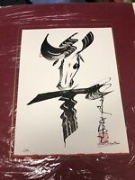 "Vintage 1991 Original Painting Signed By Yilun Thai ""The OX"" Chinese Horoscope"