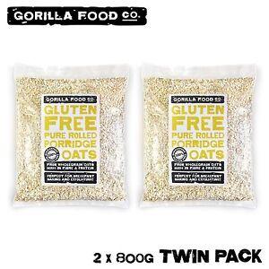 Gorilla Food Co. Gluten Free Pure Rolled Porridge Oats - 1.6kg Bulk (2 x 800g)