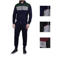 Tuta Sportiva Uomo Slim Fit Cotone Felpa Pantaloni Laccetti Bicolore Nero Blu