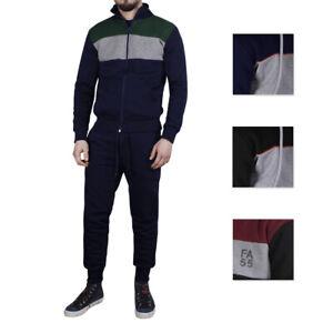 Tracksuit Man Slim Fit Cotton Sweatshirt Trousers Laces Bicoloured Black Blue