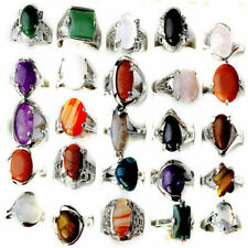 New Wholesale Jewelry Lots 40pcs Natural Stone Silver Plated Rings Us Shipping