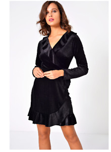 Womens Ladies Wrap Over  Frill Dress  Black   Size 8 John Zack