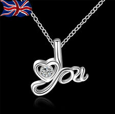 "925 Sterling Silver Heart Necklace I Love You 18"" Ladies Gift Romance UK"