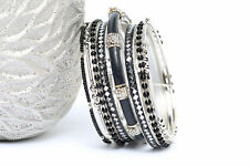Women's Fashion Black Mirror  Bangles Bracelet Set Black/Silver