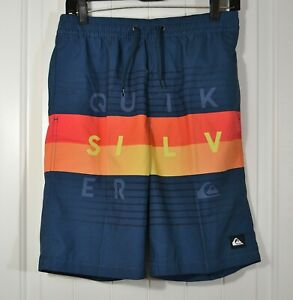 NWT KIDS  BOYS YOUTH QUIKSILVER WORD BLOCK VOLLEY YOUTH 19 BLUE CHOOSE SIZE