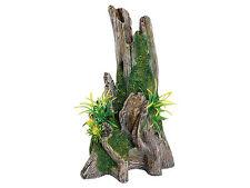 Tronco de árbol madera a la deriva con plantas de ornamento de Acuario Artificial Decoración Reptil