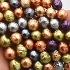 Natural 10-11mm MultiColor south sea baroque reborn keshi pearl loose beads 15""
