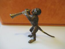 ANTIQUE  AUSTRIAN COLD PAINTED BRONZE MONKEY PLAYING A TRUMPET
