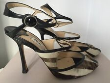Jimmy Choo Henna black & white zebra print animal pony skin strappy heels 37.5
