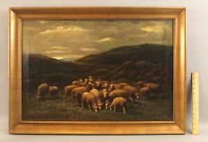 Antique GEORGE ARTHUR HAYS Bucolic Country Sheep American Landscape Oil Painting