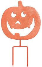 Halloween Pumpkin Happy Jack-O-Lantern Metal Garden Stake Sign