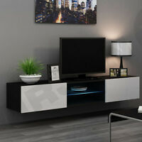 neu edles lowboard glasfront schwarz hifi rack kommode. Black Bedroom Furniture Sets. Home Design Ideas