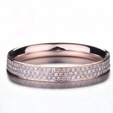 Solid 10K Rose Gold Natural Diamond Band Engagement Anniversary Wedding Ring