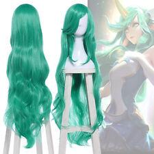 League of Legends LOL Soraka Long Wavy Curly Green Cosplay Full Wig Party Wigs