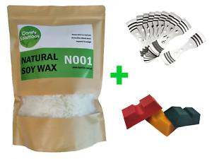 1kg Natural Soy Wax |5 x Wick Holder |1 x Dye Block