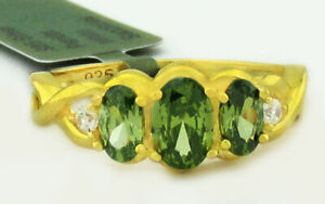 PERIDOT 0.86 Cts & WHITE SAPPHIRES RING .925 STERLING SILVER NWT SIZE 7.75