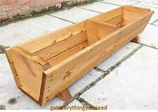 Garden Wooden Trough Planter Basket Decoration Bedding Plants Herbs Window Boxes