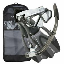 U.S. Divers Snorkeling Set w/ Med/L Fins, Mask, Snorkel, & Bag, Gray (Open Box)