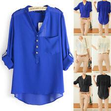 Fashion Women V Neck Long Sleeve Tops Chiffon Casual T-Shirt Blouse Plus Size