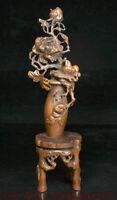 """11.6 """"Chinois buis bois sculpté à main fleur oiseaux bouteille Vase Statue décor"""