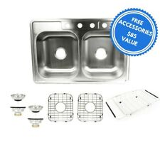 """Stainless Steel Kitchen Sink Double Bowl 33""""x 22""""x 8"""" Top Mount 18G+ 5Free Items"""