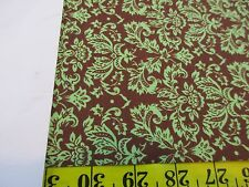 Petite Damask Green on Chocolate 06 Cotton Quilting Fabric Bty