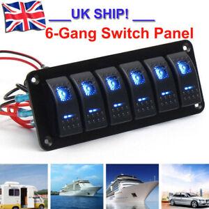 UK 6 Gang LED Rocker Switch Panel Circuit Breaker 12V 24V Boat Marine Waterproof