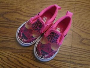 Vans Off The Wall size 5M infant /toddler pink leopard print slip-on shoes NEW