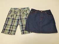 Old Navy Lot Girls 12 Plaid Bermuda Shorts & Blue Jean Skirt Great Condition