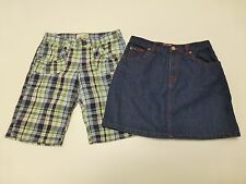 Old Navy Girls Size 12 Plaid Bermuda Shorts & Blue Jean Skirt Great Condition