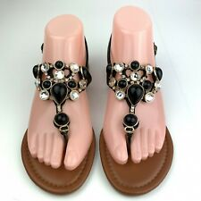Top Moda 6 Black Jeweled Thong Flat Sandals