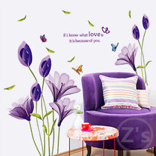 New DIY Purple Lily Flower Posters Removable Waterproof Wall Stickers Home Decor