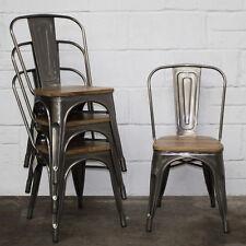 Set of 4 Steel Metal Industrial Dining Chair Kitchen Bistro Cafe Vintage Seat