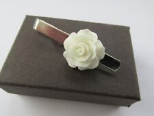 White Rose Flower Tie Pin Slide - Handmade - Gift Boxed - Dad Husband Brother