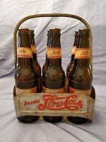 Vintage Pepsi:Cola bottles and 6 pack metal holder 1940s