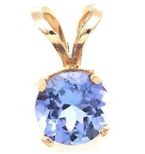 0.85ct Genuine Tanzanite Solid 14K 14KT Yellow Gold Pendant FREE SHIPPING