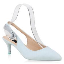 Damen Pumps Slingpumps Veloursleder-Optik Stiletto Party Mid Heels 820390 Schuhe