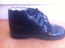 Girls Black Leather GROSBY Boots  AUS Size 12 Vintage Style Scalloped Edging
