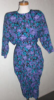 1980 Vintage Sarah Taylor Bodycon Batwing Purple Aqua Blue Rose S7/8