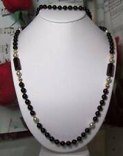 Black Onyx With 14k Gold filled Beaded Necklace.BON019