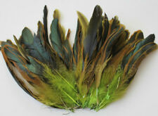 "100+ pcs.(16g) 6-8"" half bronze lime green schlappen coque rooster feathers, New"