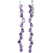 Sterling Silver 925 Genuine Natural Amethyst Gemstone Long Linear Earrings