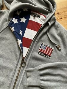 Barbour Men's Grey Steve McQueen Collection USA Flag Zip Hoodie Size XL Rare