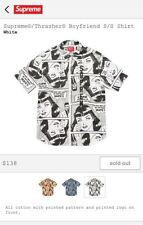 NEW Supreme X Thrasher Boyfriend White Button Down Button Up Dress Shirt M SS17