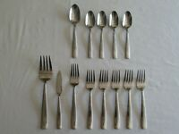 13 pieces -  Oneida ZINC Mixed Lot Stainless Flatware Meat Fork Spoons Spreader