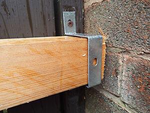 """2 x Barricade Brackets 4x2"""" 100x50mm Slide In Security Gate Door Safety Intruder"""
