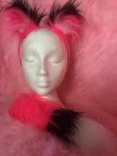 Mini Fox Ears & Tail Luxury Fake Fur Bright Pink Black White Fox Fancy Dress Set