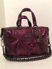 Coach Madison Metallic Leather Audrey Purple Satchel Bag LTD ED 14232