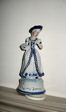 Vintage Porcelain Music Box Lady Figurine~ Blue and White